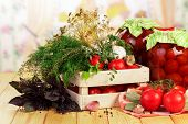 foto of crate  - Raw red Tomatoes and dill in crate - JPG