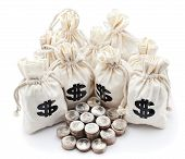 pic of american money  - Money bags and american coins Business and finances conceptual image - JPG