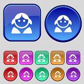 stock photo of female toilet  - Female Woman human Women toilet User Login icon sign - JPG