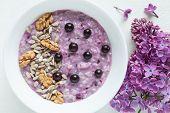 stock photo of porridge  - Healthy vegetarian diet meal - JPG