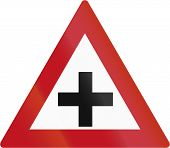 stock photo of crossroads  - A Botswanan sign warning about crossroads  - JPG