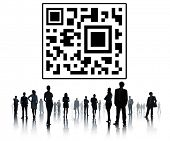 image of qr-code  - Business People QR Code Silhouette Concept - JPG