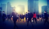 foto of hustle  - Commuter Business District Walking Crowd Cityscape Concept - JPG