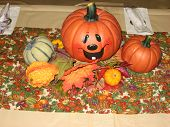 foto of jack-o-laterns-jack-o-latern  - photograph of decorations for a harvest dinner - JPG