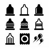 stock photo of prophylactic  - Condom Icons Set on White Background - JPG