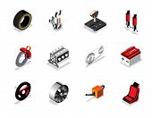 picture of choke  - Isometric car services icon and logo tyre break control tool engine wheel and etc - JPG