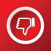 image of dislike  - Vector round white icon with dislike symbol - JPG
