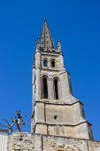 pic of bordeaux  - the bell tower of the monolithic church in Saint Emilion Bordeaux France - JPG