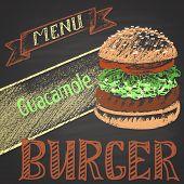 stock photo of burger  - Colored chalk painted guacamole burger - JPG