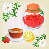 picture of get well soon  - Strawberry jam ChamomileTea with lemon and Chamomile Flowers - JPG