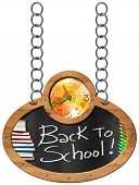 picture of oval  - Oval blackboard with a colorful clock text Back to School book and colored pencils - JPG