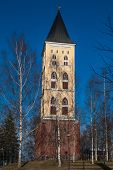 pic of city hall  - City Hall on the background of blue sky among the birches in the city of Lappeenranta Finland - JPG