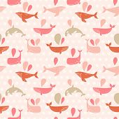 foto of whale-tail  - Stunning underwater concept seamless pattern in awesome pink colors - JPG