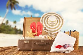 picture of mole  - Travel concept with old suitcase on wooden planks full of beach accessories - JPG
