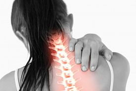 stock photo of red-necked  - Digital composite of Highlighted spine of woman with neck pain - JPG