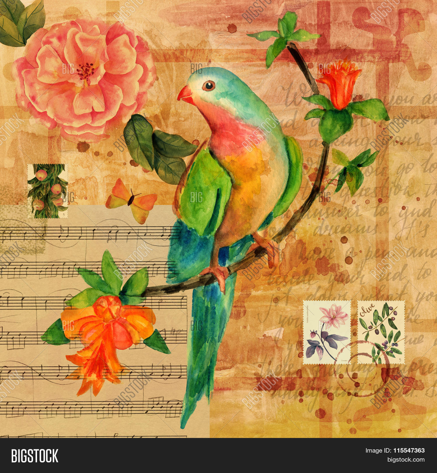 Vintage Collage With Sheet Music, Butterfly, Bird, Rose Et