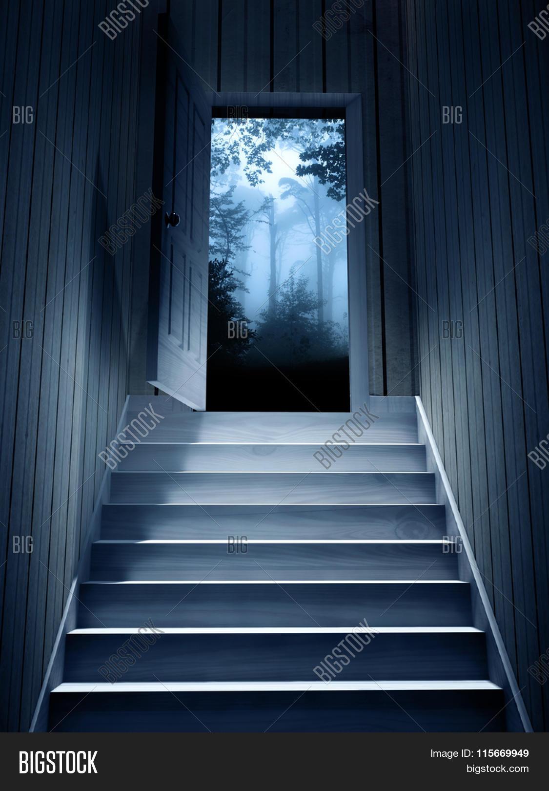 Steps leading from a dark basement to open the door 3d render stock photo stock images bigstock for Door picture