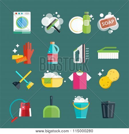 Cleaning icons set clean service