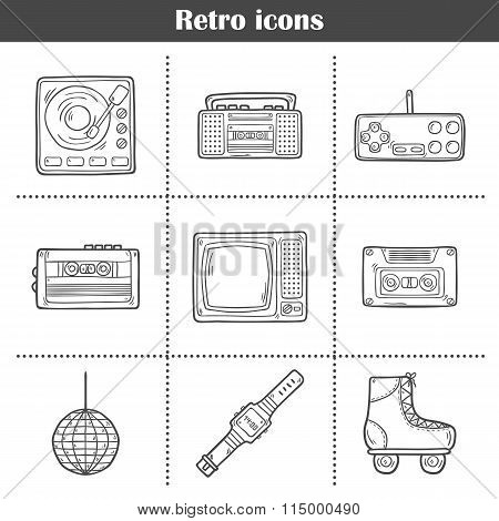Set of hand drawn retro icons
