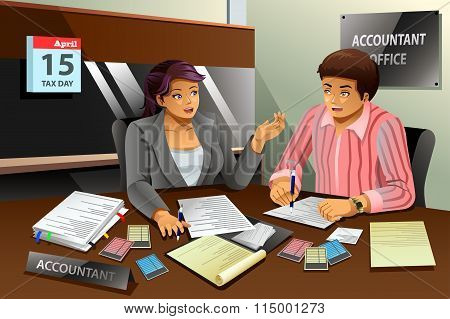 Accountant Helping A Man Filling The Tax