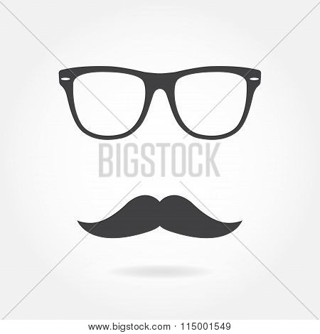 Glasses with mustache. Retro hipster style. Vector illustration.