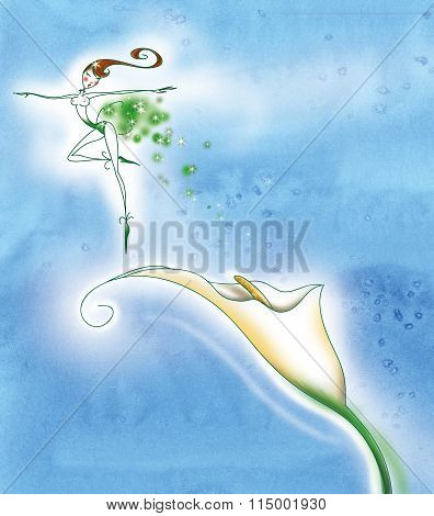 Fairy lady with calla flower