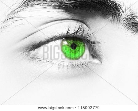 an insightful beautiful look on colored eyes