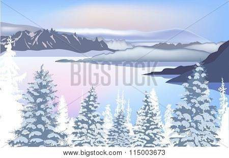 illustration with winter forest near mountain frozen lake