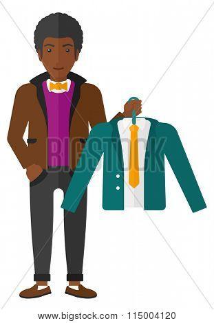 Man holding jacket.