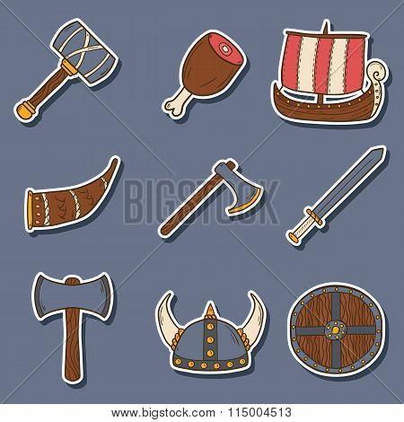 Viking cartoon stickers