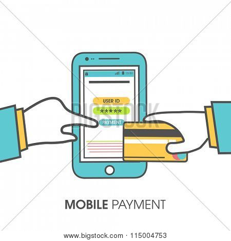Illustration of smartphone showing online Mobile Payment concept by using credit card.