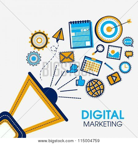 Creative megaphone with various infographic elements for Digital Marketing concept.