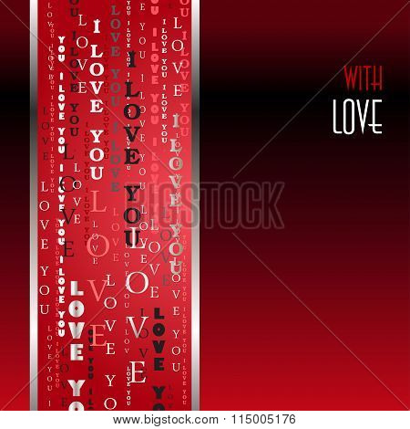 I love you words red background.