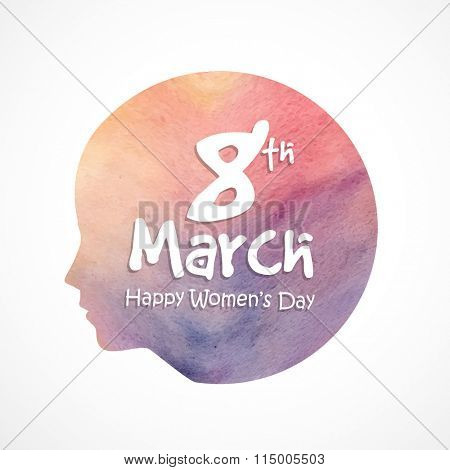 Stylish text 8th March with illustration of young girl face for Happy International Women's Day celebration.