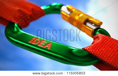 Idea on Green Carabiner between Red Ropes.