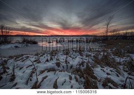 Winter Lake And Wetland Sunset
