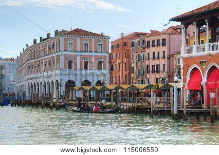Rialto Market On A Sunny Day In Venice