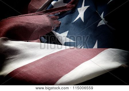 Old And Tattered American Flag