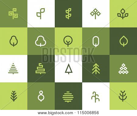 Tree icons. Flat style