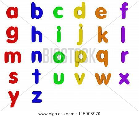 Fridge Magnet Lowercase Alphabet Letters Isolated On White