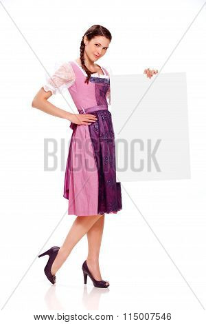 Young Girl With .dirndl Dress Holding Billboard