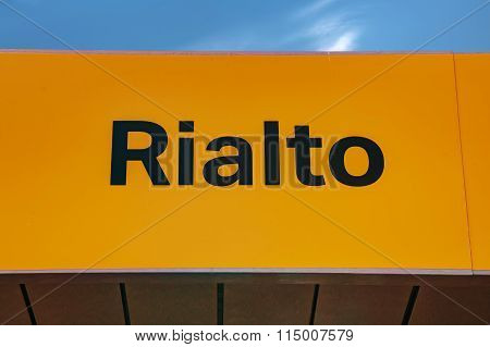 Rialto Water Bus Stop Sign