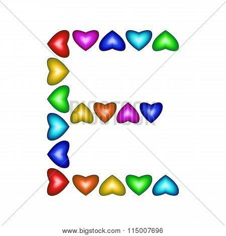 Letter E Made Of Multicolored Hearts