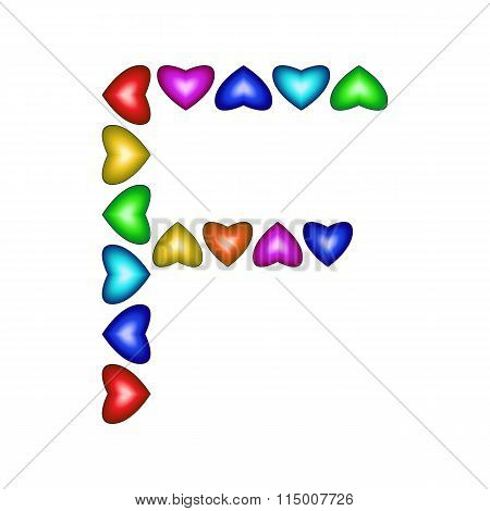 Letter F Made Of Multicolored Hearts