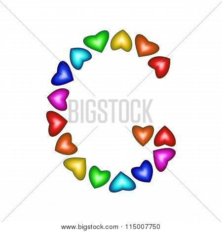 Letter G Made Of Multicolored Hearts