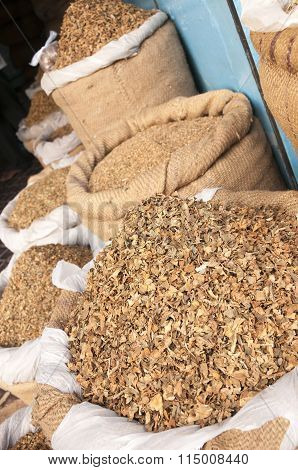 Dried Tobacco Leaves At The Market