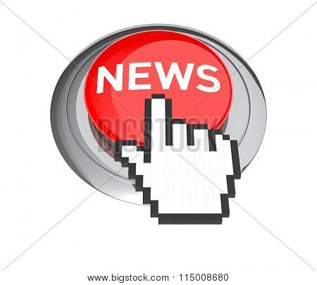Mouse Hand Cursor On Red News Button. 3D Illustration.