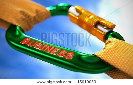 Green Carabine Hook with Text Business.