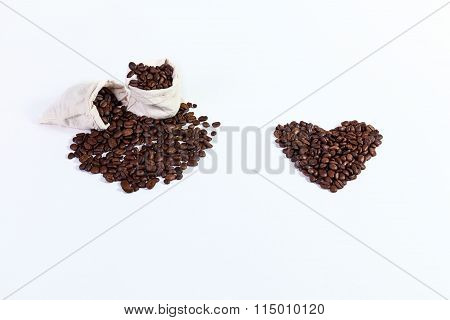 roasted coffee beans in a rag bags, roasted coffee beans on a wh