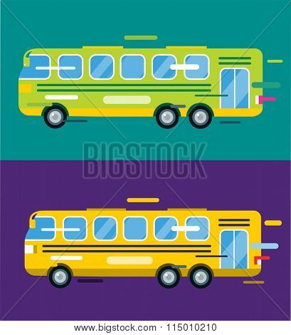 City bus cartoon flat style. Bus icon silhouette. Bus cartoon silhouette. Bus mobile fast city transport. Bus fast moving. Bus illustration. Vector city bus object isolated